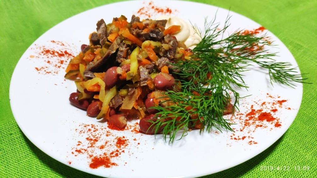 Salat myasnoj s ogurtsami  - Салат мясной с огурцами