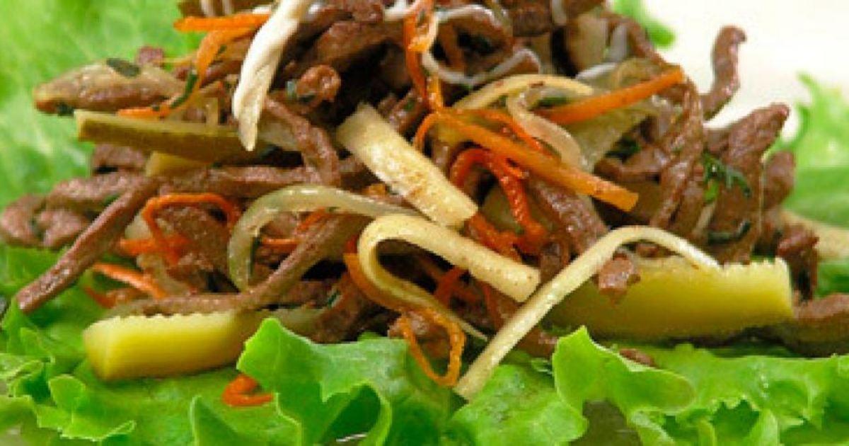 Salat iz otvarnoj govyadiny s ogurtsom - Салат из отварной говядины с огурцом